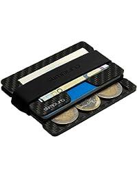 Carbon Kreditkartenetui mit Münzfach - Slim Wallet mit Coin Fach - Mini Portmonee Herren - RFID Schutz - Minimalisten Geldbeutel mit Multitool-Card - Geldbeutel, Geldbörse - Typ C4