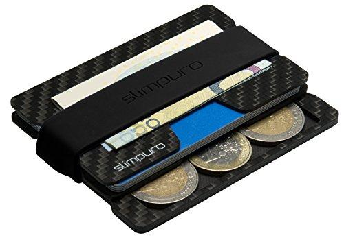 SLIMPURO Kreditkartenetui Herren mit Münzfach PICO - TÜV RFID Schutz - Carbon Slim Wallet mit CoinCard - Minimalisten Geldbeutel Geldbörse (Integriertes Münzfach 3-4 Münzen) -