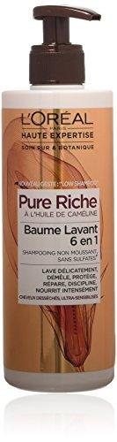 L'Oréal Paris Pure Riche Low Shampoo Baume Lavant Cheveux très secs 400 ML - Lot de 2