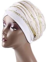 Fletion Gorro de turbante gorro mujer cancer de terciopelo con nuevo hilo de seda dorada Sombrero de cola larga musulmán