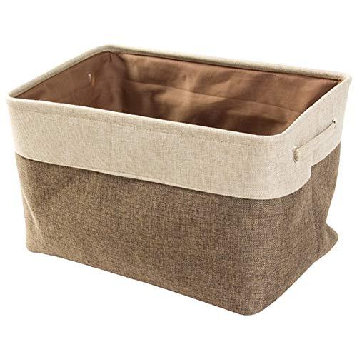 Korb, faltbare stapelbare Lagerplätze Leinen Wäscherei Aufbewahrungsbox Cube für Kindergarten Kinder Kleinkind Heim und Büro(Beige Brown) ()