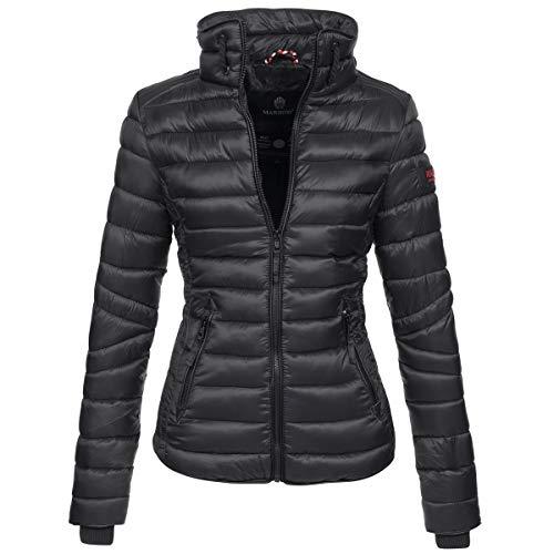 Marikoo Damen Jacke Steppjacke Übergangsjacke gesteppt mit Kordeln Frühjahr Camouflage B405 [B405-Lola-Schwarz-Gr.L]