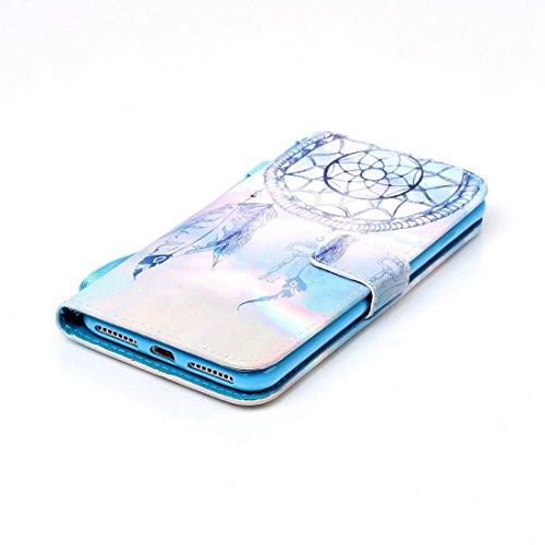 iPhone 7 Plus Coque, Noir Cuir iPhone 7 Plus Etui Rabat Style Prime Portefeuille Case Avec Carte Slots pour Apple iPhone 7 Plus 5.5 inch Avec Don't Touch My Phone Motif Image bleu-4