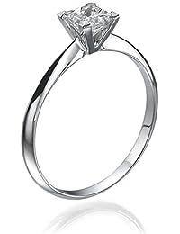 Solitaer Diamantring - 14K Gold Princess mit Zertifikat 0.50 Karat