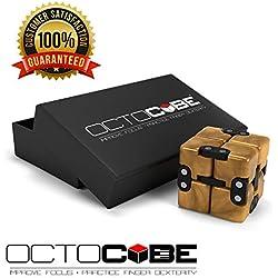 OCTOCUBE Infinito Fidget Cubo - Infinito Rompecabezas 3D Premium | Alivio del estrés, la ansiedad, reducción de la presión - Oro