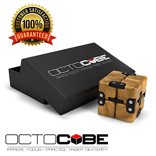 OCTOCUBE Infinity Cube Fidget Toy w/Gift Box Infinite Cool Gadget for Kids, Adults - Prime Sensory Stress Relief, Pressure Reduction Unique distraction for Autism, ADHD, Quit Smoking - GOLD