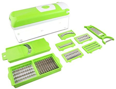 Magikware 12 In 1 Vegetable Cutter - Chopper, Grater, Slicer Dicer, Peeler - All In One (Green)