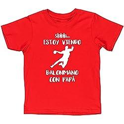 HippoWarehouse SHHH… ESTOY VIENDO BALONMANO CON PAPÁ camiseta manga corta niños niñas unisex