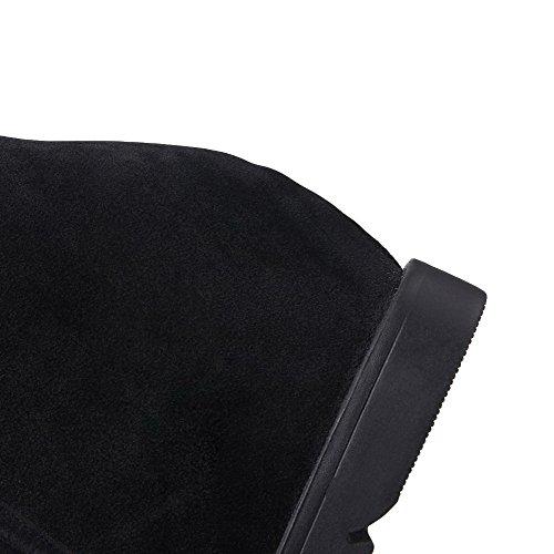 VogueZone009 Femme Rond Tire Duvet Couleur Unie Bottes Noir