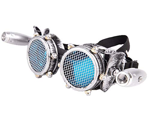 Unisex Stacheldraht Steampunk Goggles Spikes Schutzbrille Brille Vintage Cosplay Party Schweißen Rave Goth Punk Musikfestival Gläser Mit Led - Womens Rainbow Hellen Kostüm