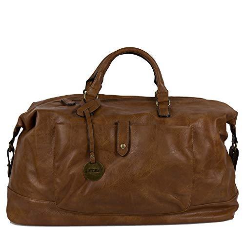 Borsone da viaggio uomo marrone con manici tracolla borsa vintage grande palestra dottore lavoro eco pelle valigia a mano casual voli aereo ecopelle caffe