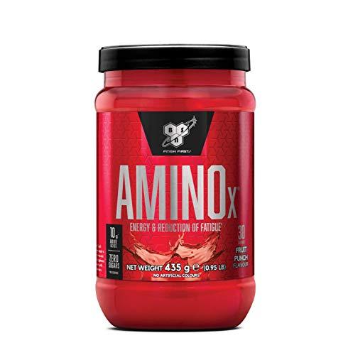 BSN Amino X Verzweigtkettige Aminosäuren (mit Vitamin D, Vitamin B6, Taurin, Alanin und Arginin, BCAA-Pulver von BSN) fruit punch, 30 Portionen, 435g -