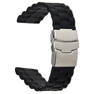 Neuftech® Silikonkautschuk Uhrarmband Uhr Band Faltschließe schwarz 22mm wasserdicht