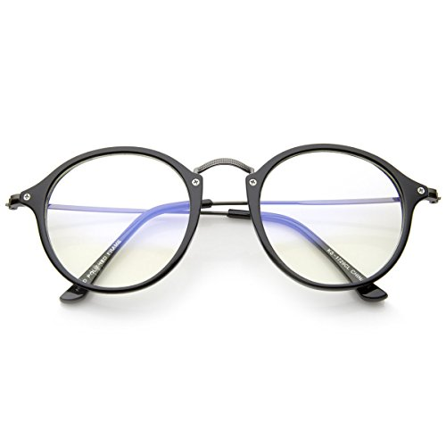 Preisvergleich Produktbild Neutrale Gläser KISS® - inspiriert von MOSCOT Stil mod. FLACH - VINTAGE-Mann-Frau-Unisex Rahmen - SCHWARZ V2