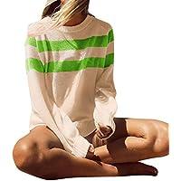 Damen Pullover Übergröße Women Langarm Mode T-Shirt Tops Streifen Stricken Pullover Bluse