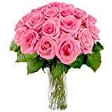 GoldenCart Fresh Flower Delivery Of ROSES I GLASS FLOWER VASE WITH FLOWERS I Flower Vase Decoration I Flower Vase For Home Decor And To Convey That 'special Feeling' Of 'Pure Love And Commitment' To Your Loved Ones (41 Fresh Roses With Vase, Pink)