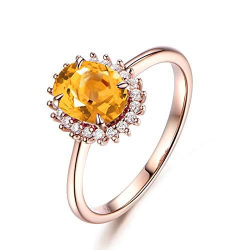 Aeici Damenringe Breit Ringe Silber 925 Damen Zirkonia-Ring mit Gelbem Zirkonia Rose Gold Größe 57 (18.1)