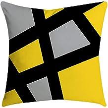 ¡Gran promoción!☆Rovinci☆ Amarillo Gris Negro Mezcla Suave Cómodas Fundas de Almohada