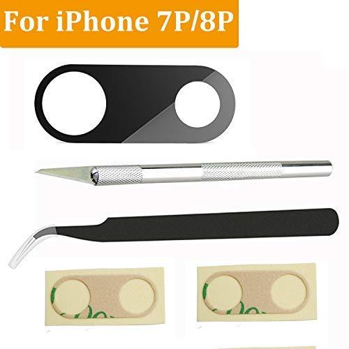 [Saphirglas] Rückkamera-Glaslinsenabdeckung Ersatz für iPhone 8 Plus oder iPhone 7 Plus, mit Reparaturwerkzeugen und Klebestreifen (Iphone-kamera-objektiv-ersatz)