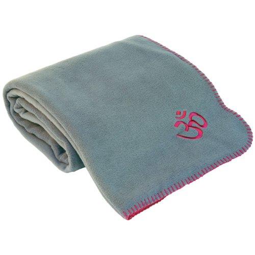 Yoga Asana Blanket, Plaid pour savasana, couverture en polaire avec broderie Om, 140x 200cm Gris