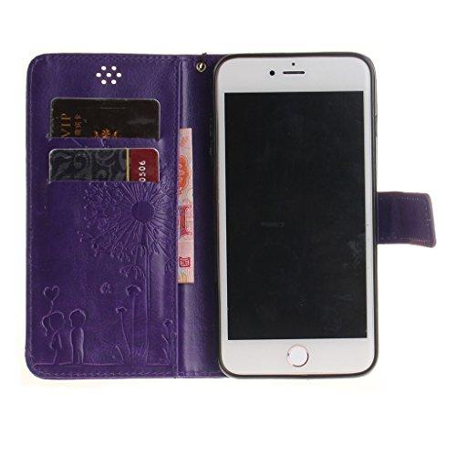 iphone 7 Plus Coque, MYTHOLLOGY Magnétique Portefeuille Fente Carte avec Support Housse PU Cuir Case à rabat Folio EtuI pour iphone 7 Plus (5.5) - Or Violet
