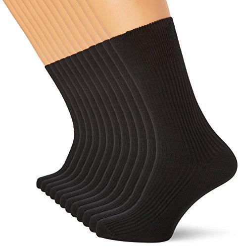 FM London Men's Cotton100-Diabetic-12 Socks, Black, One Size (Manufacturer Size:6-11) pack of 12