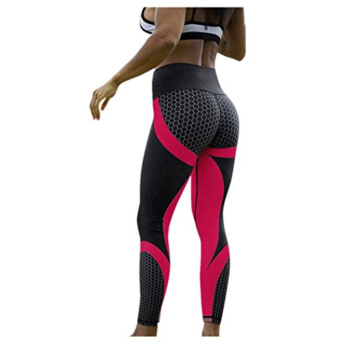 DEELIN Leggings Damen Yoga Fitness 3D Drucken Yoga Skinny Workout Gym Leggings Sport Training Beschnitten Hosen (XL, Pink)