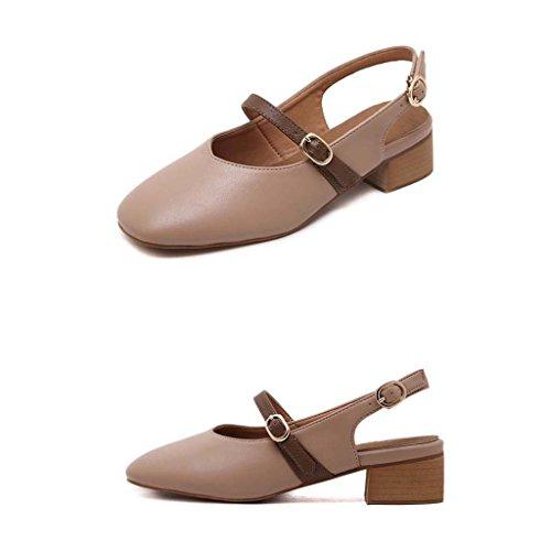 SHEO sandali con tacco Ms. spessa con la testa quadrata con sandali Baotou a bocca poco profonda Rosa