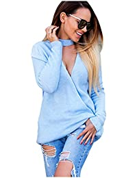 SODIAL(R) Sexy Women's Autumn Spring sweater V-neck two Kinds of wear pullovers pull Women Hollow Top(Blue,S/US~4/UK~8)