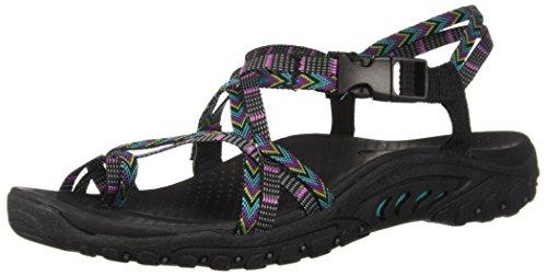 Skechers Women's Reggae-Islander-Multi-Strap Toe Thong Slingback Sandal Leather Multi-strap Sandalen
