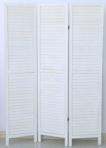 PEGANE Biombo persiana de Madera de 3 Paneles, Colorido con Blanco Bar
