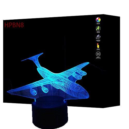 3D Flugzeug Lampe USB Power 7 Farben Amazing Optical Illusion 3D wachsen LED Lampe Formen Kinder Schlafzimmer Nacht Licht.【7 bis 15 tage in Deutschland angekommen】 (3d Flugzeug)