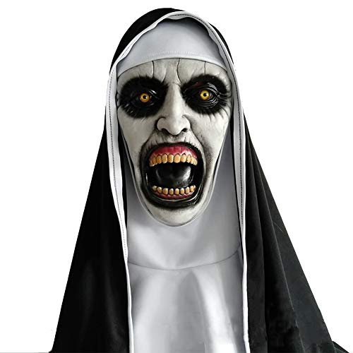 (CJWLOY Latex Halloween Maske Kopfbedeckung Tanzparty Nonne Horror Dress up Requisiten Schrecklicher Zombie)