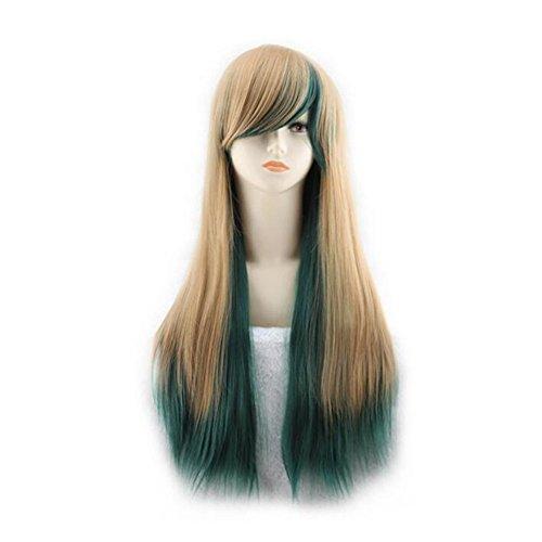 Beatayang Fashion Perruque Postiche européennes Cosplay /Les cheveux raides cheveux longues Brun&Vert
