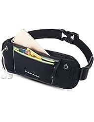 Riñonera running, Riñoneras para llevar, teléfonos hasta 6 pulgadas for iPhone 6/6S plus Galaxy S5, S6, S7, Note 4/5/7, caminar con el perro, correr, ciclismo, Bandas reflectantes, HAHAHA