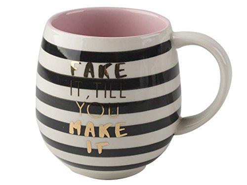 Creative Tops Fake It Til You Make It Bedruckter Gestreifter Kaffeebecher aus Keramik, 450 ml (16 Flüssigunzen)