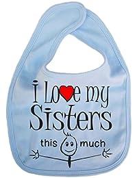 IiE, I love my Sisters this much, Boy Girl Unisex Feeding Bib