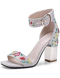 DONGLU Sandalias de Las Mujeres Flores de Verano Bordados Tacones (Color    1  565040ff0511