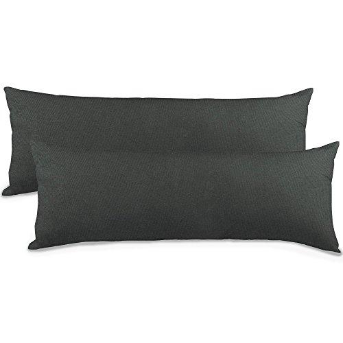 2er-Set Seitenschläferkissen Bezug 40x145 Kissenbezug Stillkissen-bezug, Jersey Qualitäts Kissenhüllen mit Reißverschluss 100% Mako Baumwolle, Classic Line aqua-textil 0010848 anthrazit grau