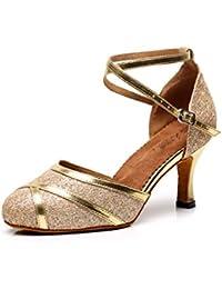 JSHOE Damen Ballroom Latin Tanzschuhe Sandalen Salsa/Tango/Chacha/Samba/Modern/Jazz Schuhe High HeelsGold-heeled7.5cm-UK3...
