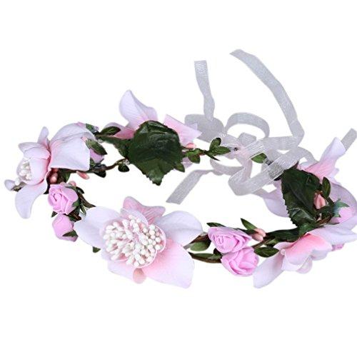 YAZILIND Blumen Crown Kranz Festival Hochzeit Haare künstlich Kopfschmuck Mädchen (rosa)