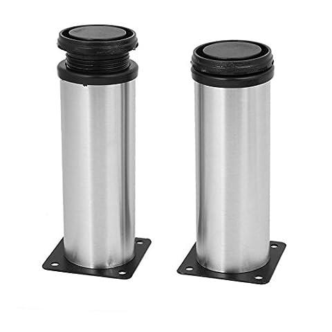 sourcingmap® Bathroom Cabinet 50mm x 150mm Metal Adjustable Leg Feet Round Stand 2PCS