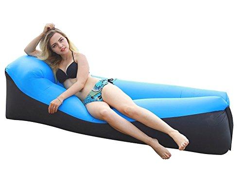 CINGO Aufblasbare Liege, Wasserdichtes aufblasbares Sofa mit integriertem Kissen, tragbar Air Betten Schla (Blau)