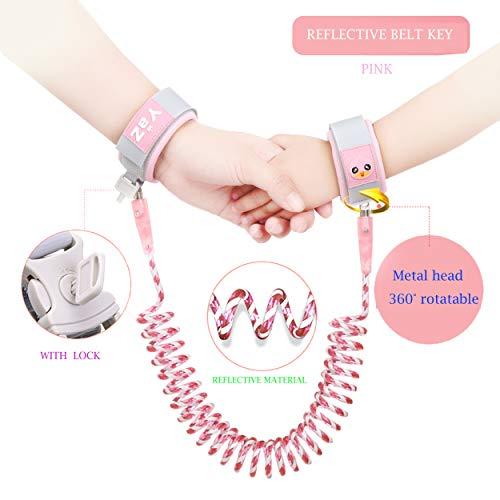Kleinkind Harness Walking Leash-Anti verlorene Handgelenk Link-Child Anti-verlorene Armband -Kind Anti-verlorene Sicherheitsgurt -Baby Zugseil (4.9FT, Pink)