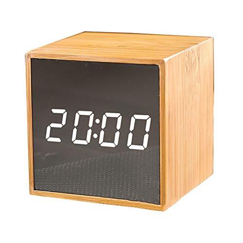 TOOGOO Bamboo LED Despertadores Temperatura Reloj ElectróNico Sonidos Mesa de Control Reloj Brillo...