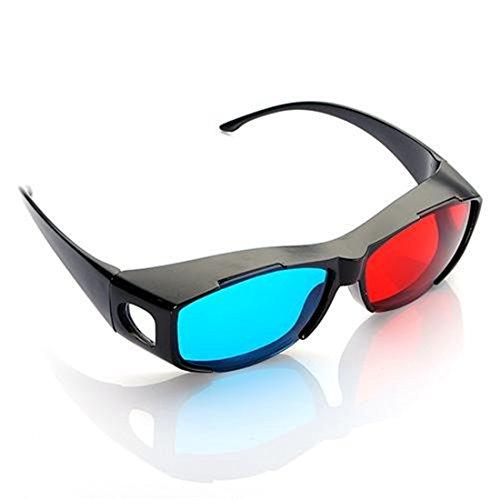Etelux Rot Blau 3D Brillen für TV oder PC Spiele (rot/blau), Anaglyphenbrille für Fernseher, sportliche 3D-Gläser mit Anaglyphen-Technologie in Halbrahmenoptik