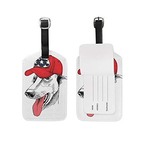 Blue Viper Greyhound Dog Red Cap PU Leather Luggage Tags Personalized 2 Pieces Set -