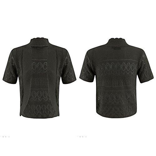 Nuovo da donna lavorato a maglia bolero cardigan uncinetto Coprispalle aperta manica corta Plus taglia UK8 – 22 Charcoal