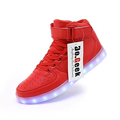 DoGeek Light up Trainers Men Women - 7 Colors LED Light Flashing Shoes -USB Charging - Silver (Choose One Size UP) (37 EU, Silver)…