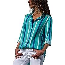 CICIYONER Mujer Blusa Camisa con Botones Cuello En V Camiseta de Mangas Largas